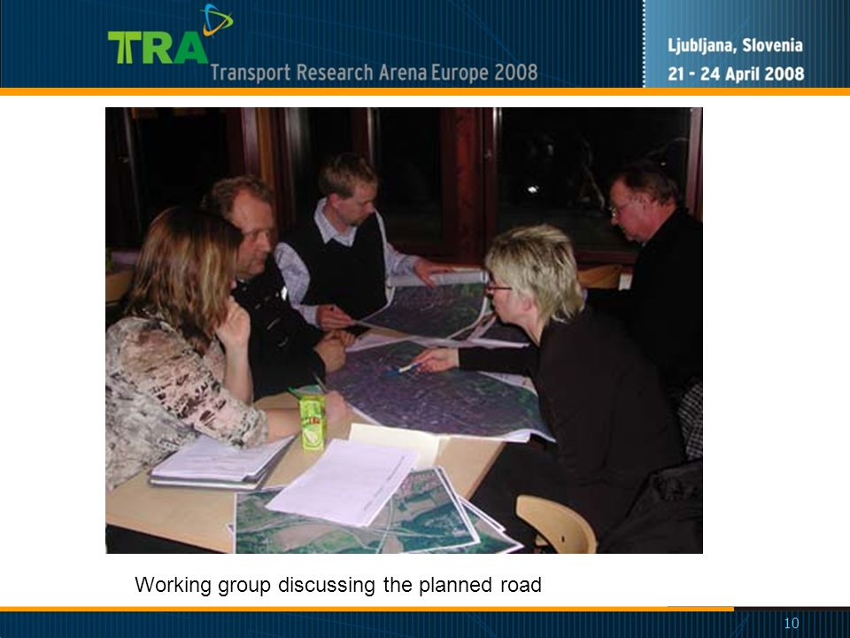 10 Working group discussing the planned road