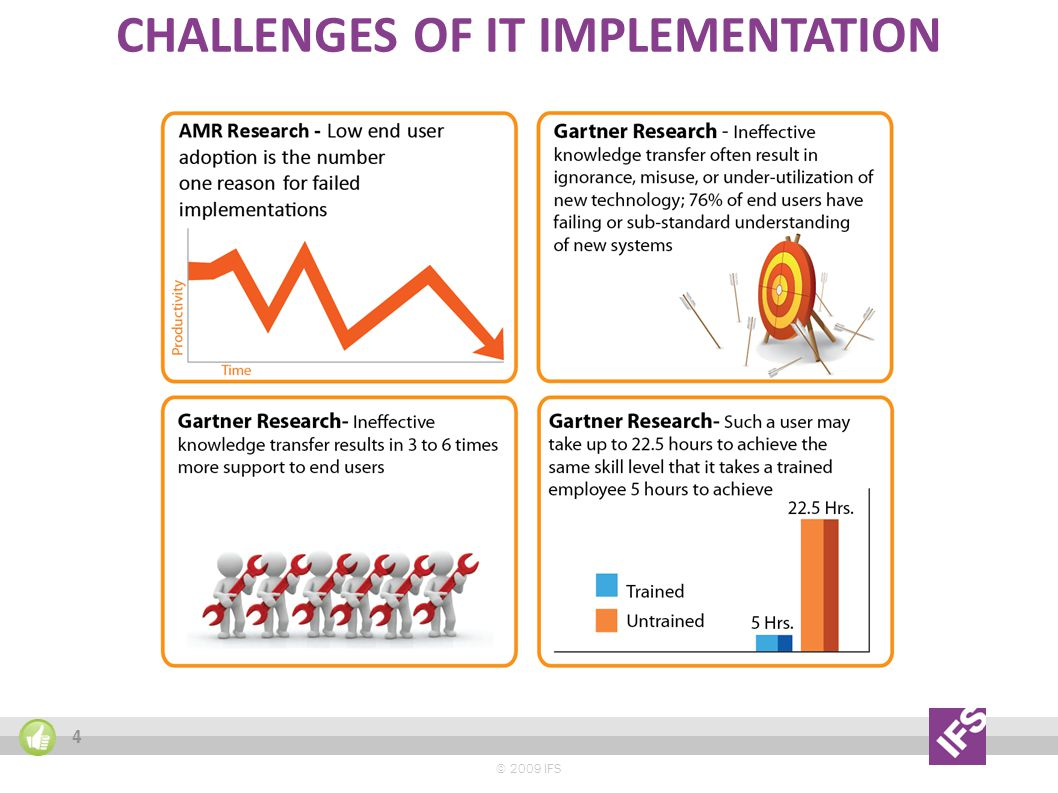 CHALLENGES OF IT IMPLEMENTATION © 2009 IFS 4