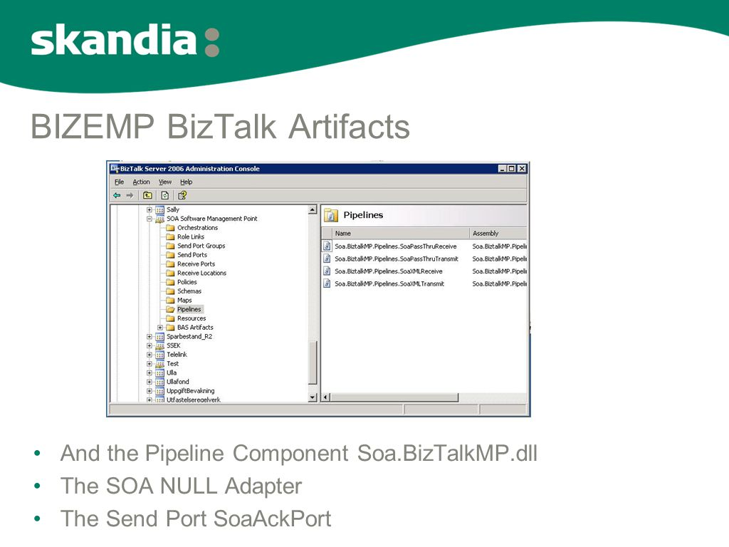 BIZEMP BizTalk Artifacts •And the Pipeline Component Soa.BizTalkMP.dll •The SOA NULL Adapter •The Send Port SoaAckPort