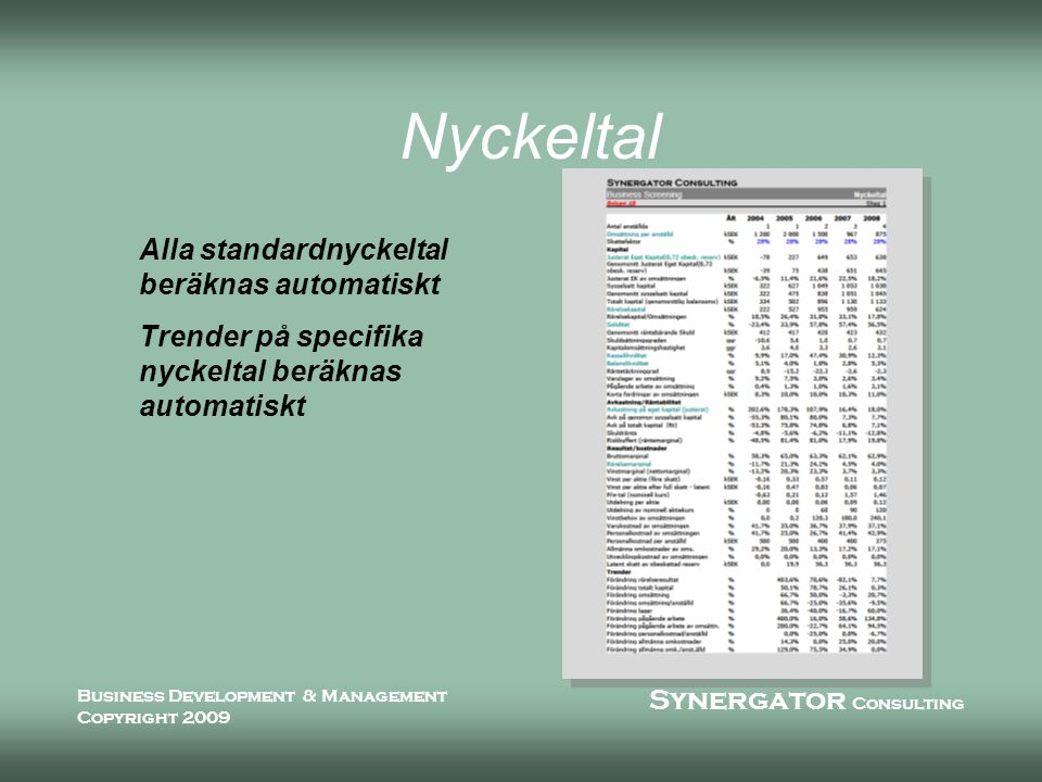 Synergator Consulting Business Development & Management Copyright 2009 Nyckeltal Alla standardnyckeltal beräknas automatiskt Trender på specifika nyckeltal beräknas automatiskt