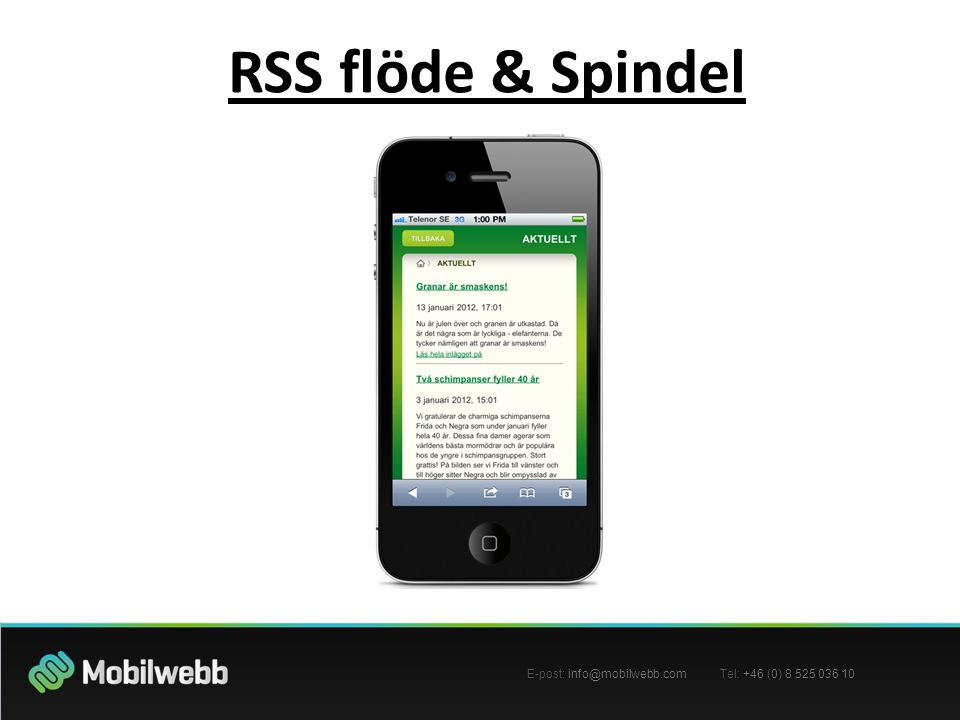 E-post: Tel: +46 (0) RSS flöde & Spindel