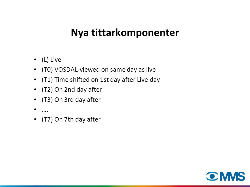 Nya tittarkomponenter • (L) Live • (T0) VOSDAL-viewed on same day as live • (T1) Time shifted on 1st day after Live day • (T2) On 2nd day after • (T3) On 3rd day after • ….
