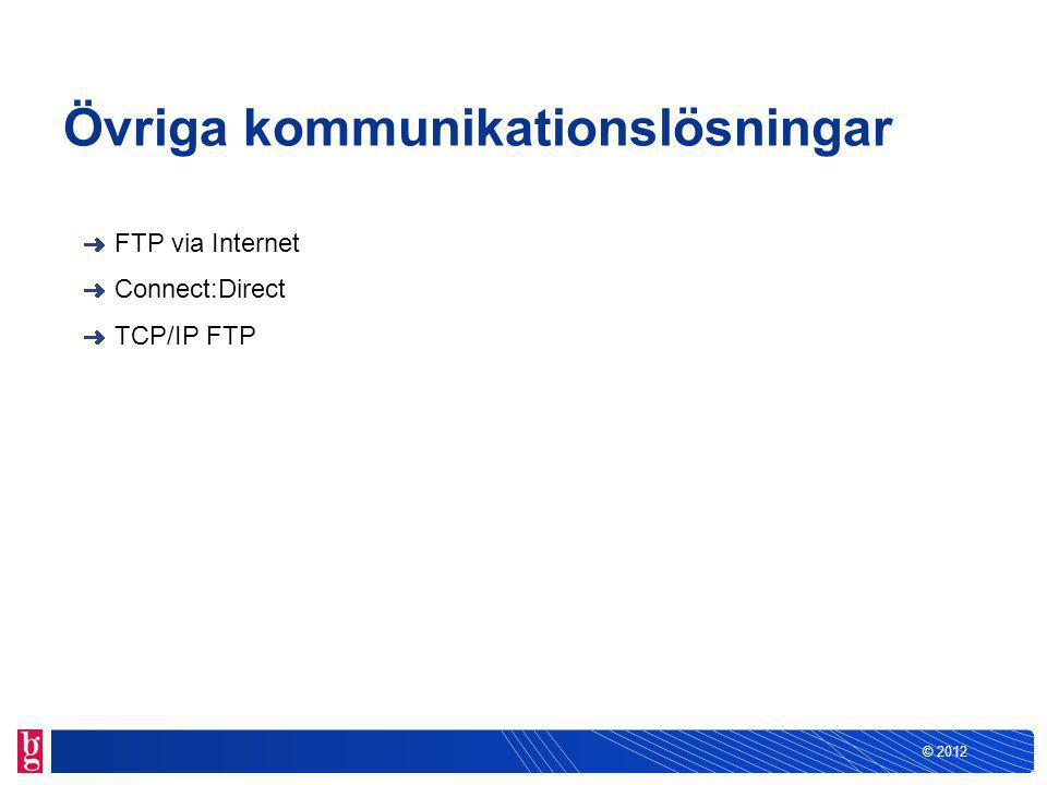 © 2012 Övriga kommunikationslösningar FTP via Internet Connect:Direct TCP/IP FTP