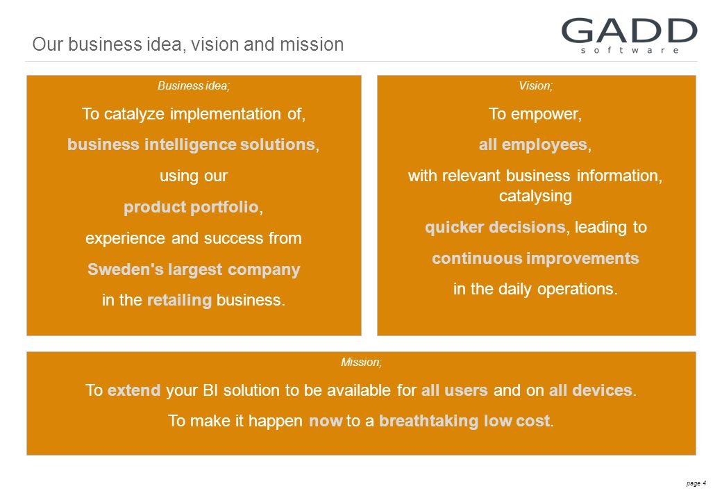 page 4 Business idea; To catalyze implementation of, business intelligence solutions, using our product portfolio, experience and success from Sweden s largest company in the retailing business.
