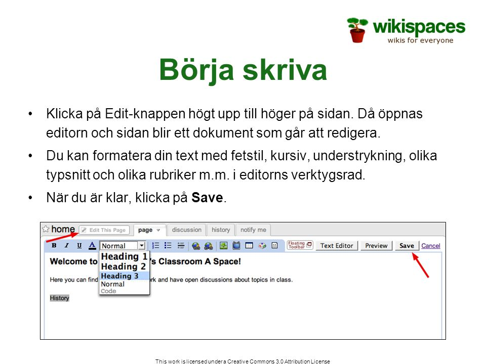 This work is licensed under a Creative Commons 3.0 Attribution License Börja skriva Klicka på Edit-knappen högt upp till höger på sidan.