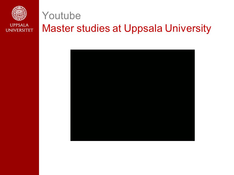Youtube Master studies at Uppsala University