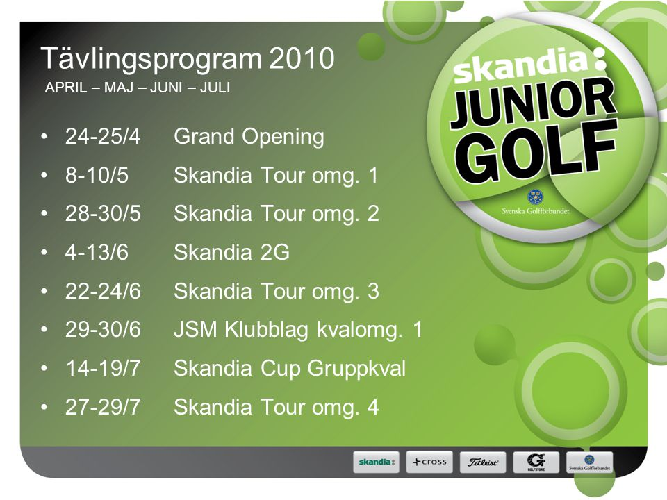 Tävlingsprogram 2010 APRIL – MAJ – JUNI – JULI 24-25/4Grand Opening 8-10/5Skandia Tour omg.