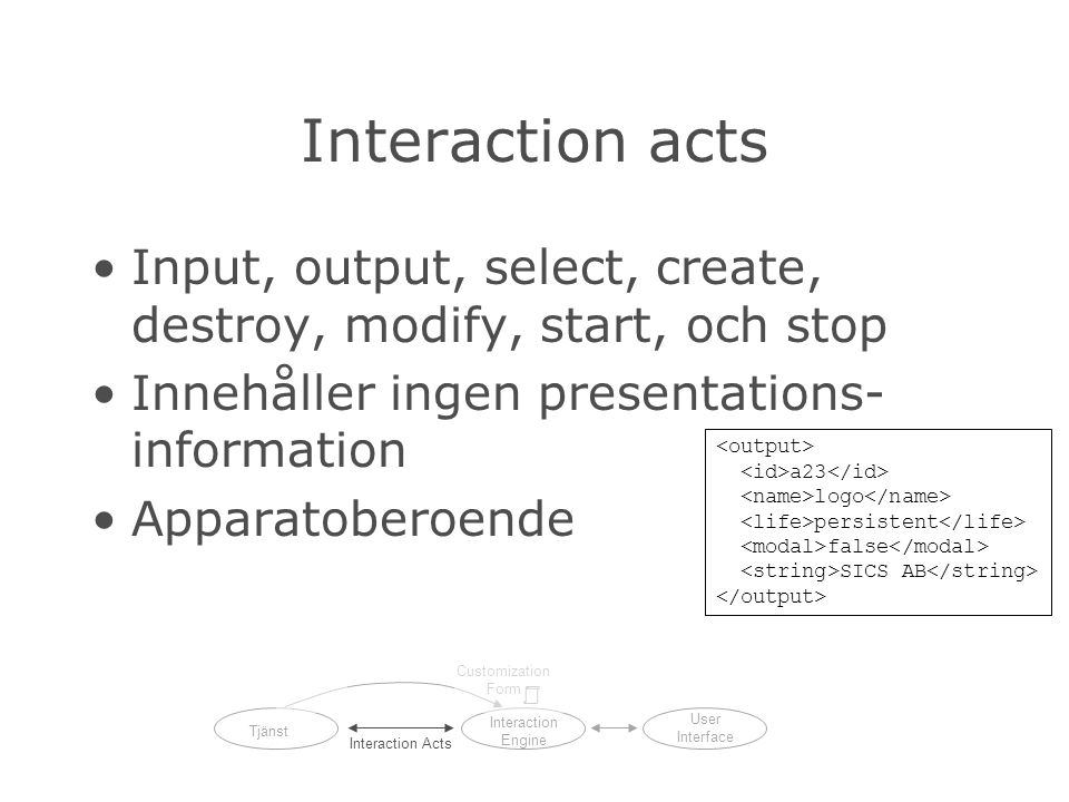 Interaction acts Input, output, select, create, destroy, modify, start, och stop Innehåller ingen presentations- information Apparatoberoende a23 logo persistent false SICS AB Tjänst Interaction Engine User Interface Interaction Acts Customization Form