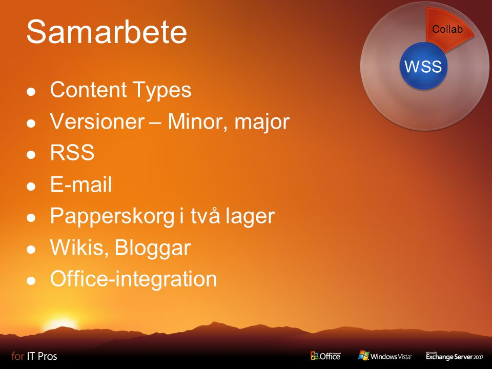 Samarbete Content Types Versioner – Minor, major RSS  Papperskorg i två lager Wikis, Bloggar Office-integration WSS Collab
