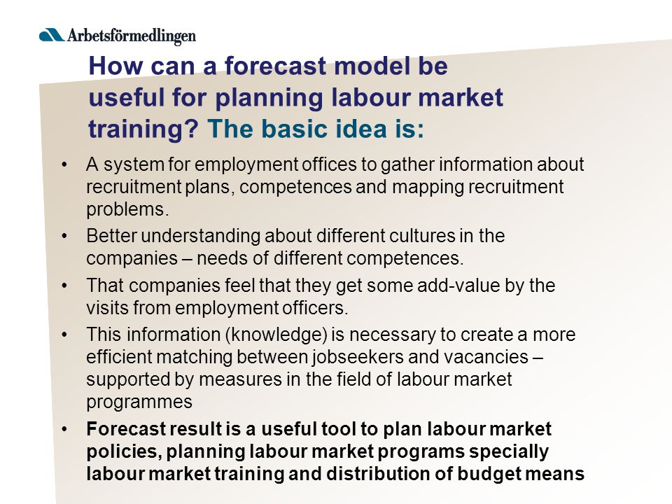 How can a forecast model be useful for planning labour market training.