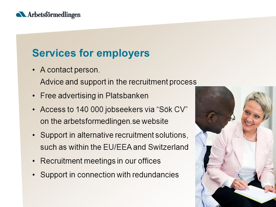 Services for employers A contact person.